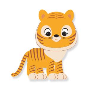 Cute Cartoon Tiger Free Vector download