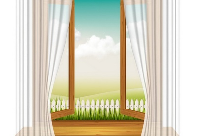Draw a Wooden Window Frame with Curtains in Illustrator