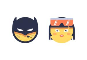 Draw a vector Set of Superhero Emoji in Illustrator
