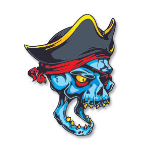 Pirate Skull Colorful Free Vector