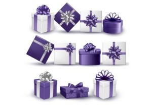 Draw an Violet Collection of Presents in Illustrator