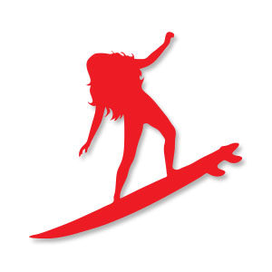 Girl Surfer Silhouette Free Vector