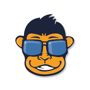Monkey Face with Sunglasses Vector