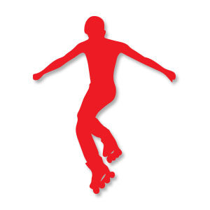 Roller Skate Man Silhouette Vector