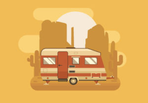 Draw a Vector Golden Camping Trailer in Illustrator