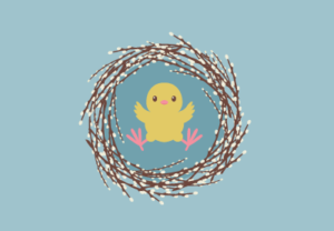 Draw of Pussy Willow With a Chick in Adobe Illustrator