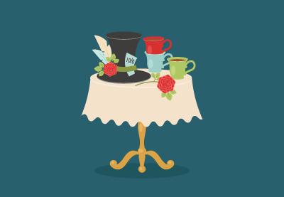 Draw an Alice in Wonderland Tea Party Scene in Illustrator