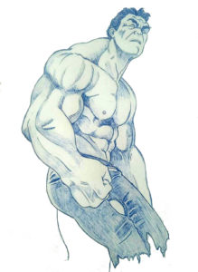 Sketch a Penna dell'eroe Marvel Incredibile Hulk