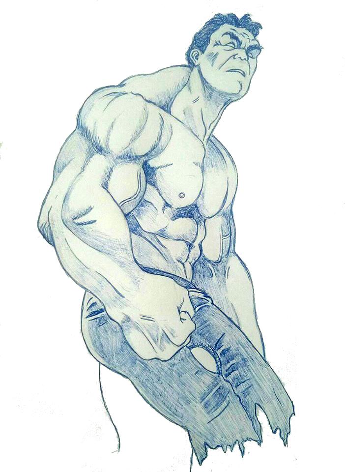 Sketch a Penna dell'eroe Marvel Incredibile Hulk