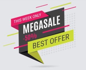 Draw a 3D Megasale Banner Design in Illustrator