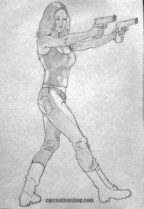 Pistol Girl - Disegno da colorare